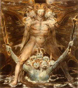 """William Blake, """"The Great Red Dragon and the Beast from the Sea,"""" c. 1805"""