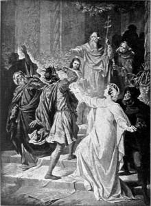 "The banishment of Rienzi, as depicted in Wagner's opera ""Rienzi"""