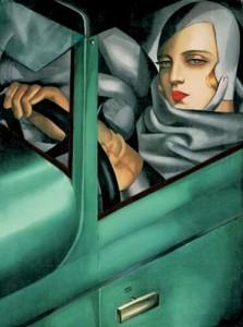 """Tamara de Lempicka, """"Auto Portrait in Green Bugatti,"""""""