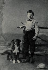 Jack London, age 9, with his dog Rollo