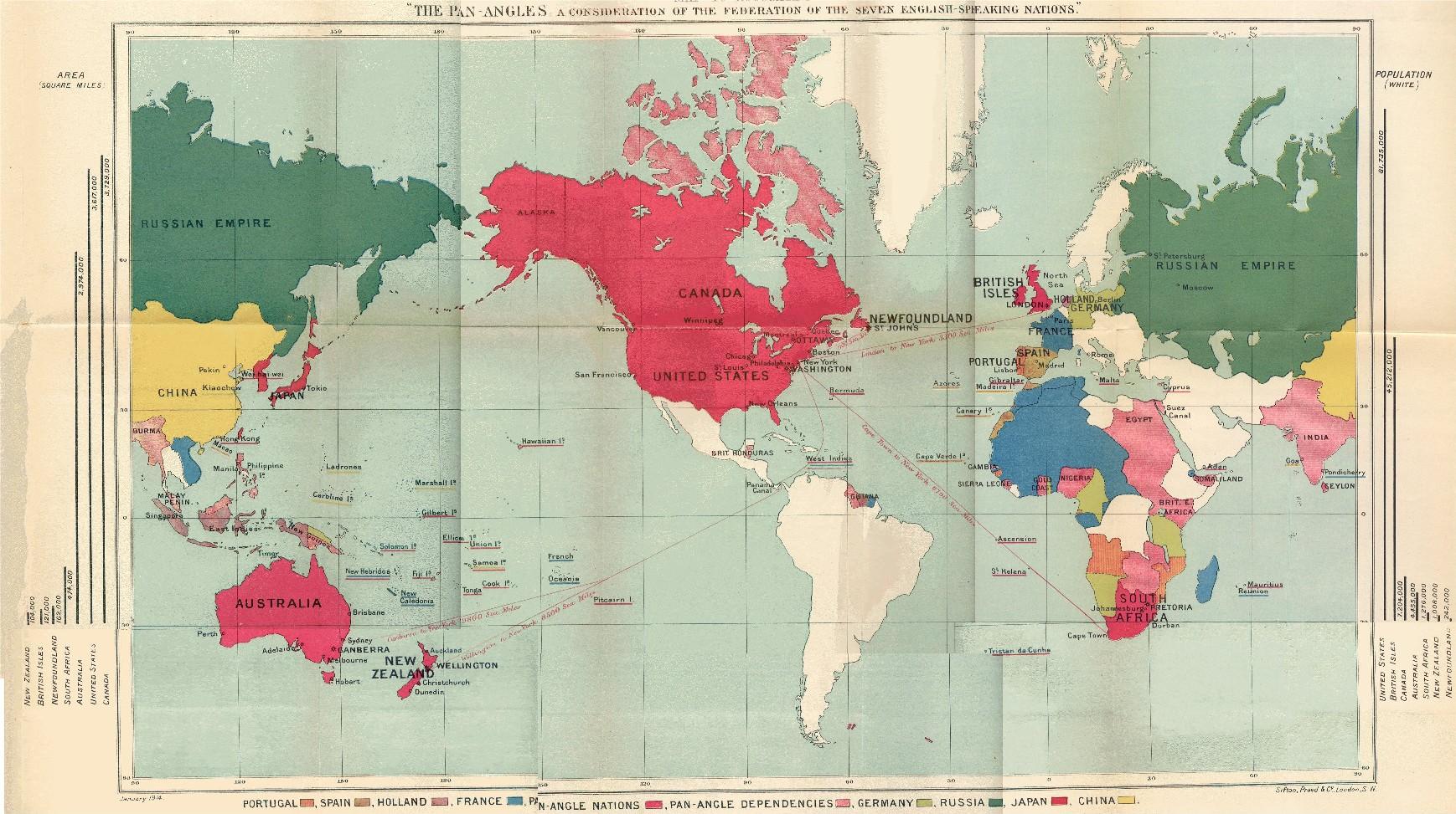 PanNationalism National Vanguard - Us territorial influence 1914 map