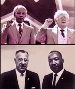 """En haut: Nelson Mandela et le dirigeant juif du Parti Communiste """"Joe"""" Slovo. Au bas de la photo: le Président du NAACP Kivie Kaplan en train de poser avec Marthin Luther King Jr."""