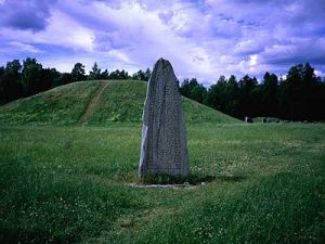 Viking rune stone and grave mounds at Anundshog