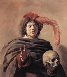 Frans Hals (1582/1583–1666), « Jeune homme tenant un crâne (Vanitas) », 1626 à 1628, huile sur toile, National Gallery, Londres