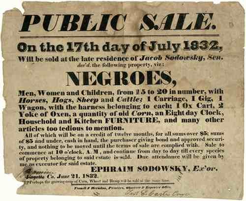 Sodowsky Slave Sale Notice, 1832