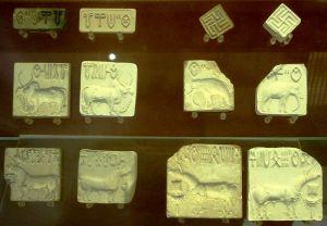 Indus Valley seals in British Museum, including swastikas