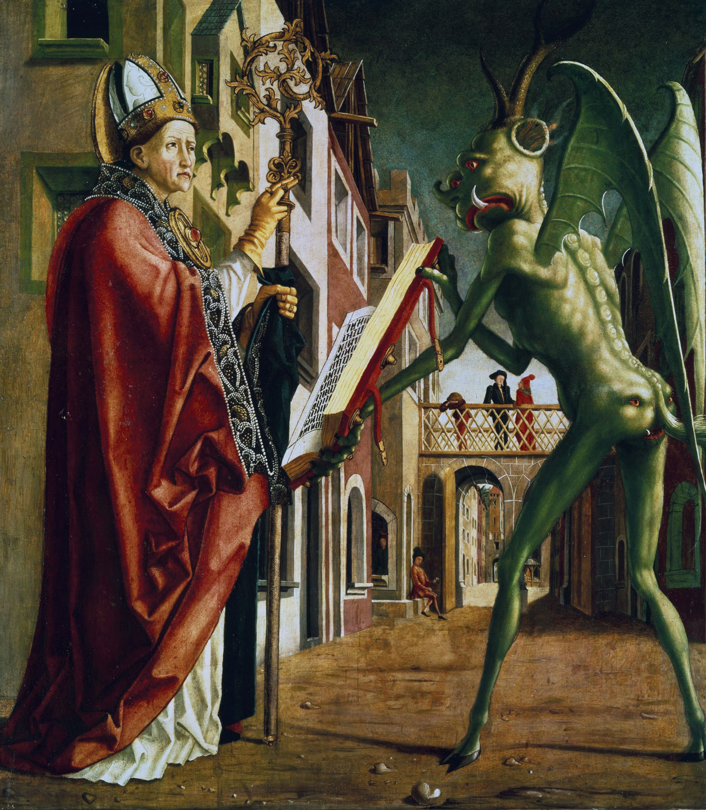 "Michael Pacher, ""The Devil showing St. Augustine the Book of Vices,"" ca. 1480"
