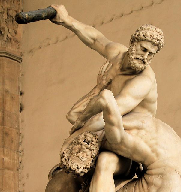 "Giambologna, ""Hercules Battles the Centaur Nessus,"" 1599, detail, Loggia dei Lanzi, Florence"