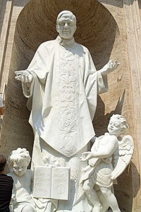 Statue of Jose Maria Escriva, Founder of Opus Dei in a niche of St. Peter's Basilica. His rapid canonization reflects the lobbying power of his movement and Pope Benedict's approval of their impact.