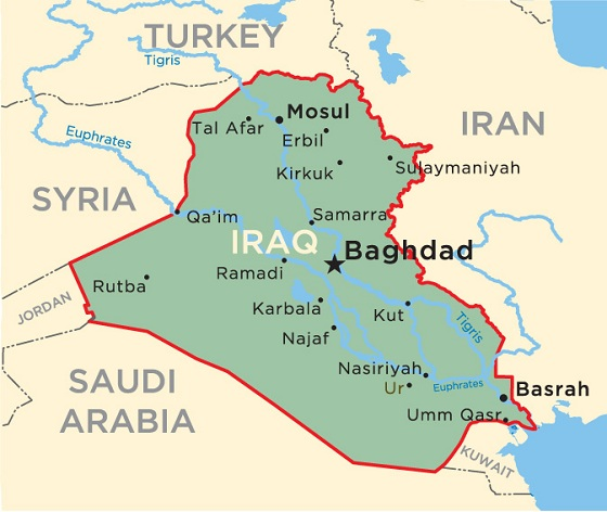 Andrew Hamilton Television In Iraq CounterCurrents Publishing - Map showing us and iraq