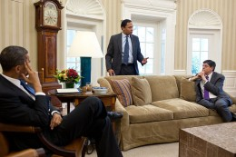 At the center of power: Jacob Lew (R) with Obama and presidential assistant Rob Nabors in the White House Oval Office. Lew, Nabors' mentor, elevated his subordinate to prominence in Washington.
