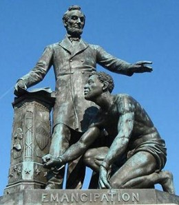 No, he is not getting as shoe-shine. Thomas Ball, Abraham Lincoln, Lincoln Park, Washington, D.C.