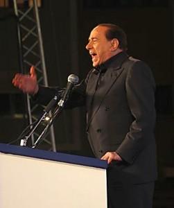 Silvio Berlusconi addressing a People of Freedom rally in 2008