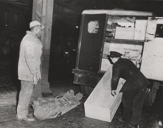 Ruth Fagin Bodenheim's body ready for coffin after she and her husband, Jewish poet Maxwell Bodenheim, were murdered in a seedy flophouse by dishwasher Harold Weinberg in 1954