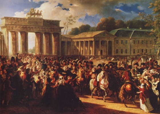 """A TRIUMPHANT NAPOLEON leads his troops through the Brandenburg Gate into Berlin on October 27, 1806, thirteen days after annihilating the Prussian Army at Jena and Auerstädt. This pro-French painting, by Charles Meynier, scarcely exaggerates the acclaim turncoat Berliners showered on the emperor. Prominent among the supporters of the French conquerors were the members of a race synonymous with treachery. As one historian put it, """"Only the Jews were wholeheartedly and unhesitatingly pro-French, since they knew that one of the [French] revolutionary principles was their political and social emancipation . . .""""  Fichte, even when he had tended to support the ideals of the French Revolution, pointedly excluded the Jews from consideration as German citizens. In anticipation of the National Socialist program, he advocated their deportation from Germany."""