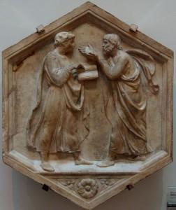 """Luca della Robbia, """"Plato and Aristotle, or Philosophy,"""" 1437-1439"""