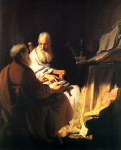 "Rembrandt, ""Two Philosophers in Conversation,"" 1628"