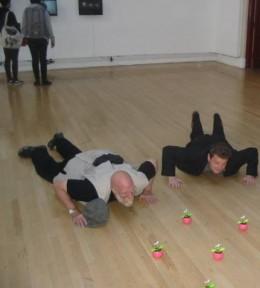 Charles Krafft and John Morgan appreciating art
