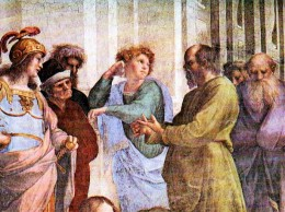 Socrates in Raphael's The School of Athens with Hermocrates, Critias, and Timaeus