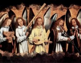 """Hans Memling, """"Angel Musicians,"""" 1480s"""