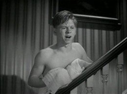 Mickey Rooney as Andy Hardy in A Family Affair. Dennis details extensively the way screenwriters found any opportunity to dispense with boys' shirts