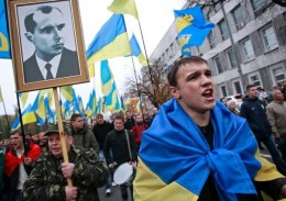 Kiev: Svoboda members march with picture of Ukrainian partisan and Third Reich ally Stepan Bandera