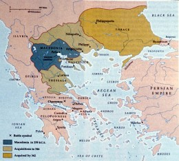 Expansion of ancient Macedonia immediately prior to Alexander's conquests, 359–342 BC