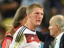 Bastian Schweinsteiger against Argentina in the final. He continued to play in spite of his wound.