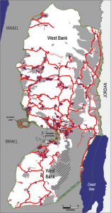Road Map to War: Red lines indicate Jews-only apartheid roads, inaccessible to the natives. Purple represents Jewish settlements.