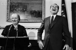 "Servile ""leader"": Nixon with Israeli Prime Minister Golda Meir"