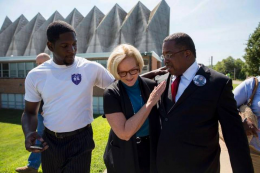 Playing the race card: US Senator Claire McCaskill (D-Mo.) in Florissant, a St. Louis suburb, during the riots.