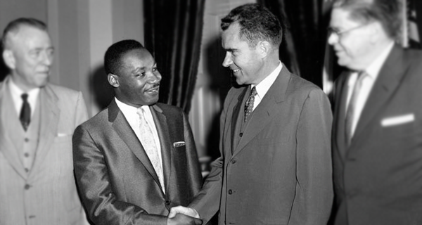 Nixon with Martin Luther King, Jr. in 1957. The California Republican worked hard