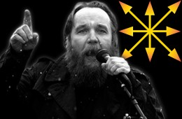 A agent of chaos: Alexander Dugin with the chaos star, symbol of Eurasianism[1]