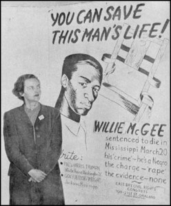 """Jessica Mitford and poster, during the CPUSA campaign to protest McGee's execution. """"His 'crime' — he's a Negro."""" This sloganeering found echoes in the published version of To Kill a Mockingbird."""