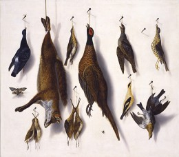 F. A. Brandel, A trompe l'oeil still-life of a fox, a pheasant, a pigeon, a partridge, thrushes and snipe hanging from nails with a moth and a fly, last quarter of 17th century