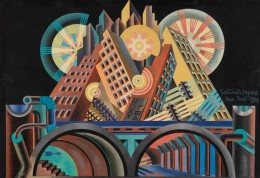 Fortunato Depero, Skyscrapers and Tunnels (Gratticieli e tunnel), 1930