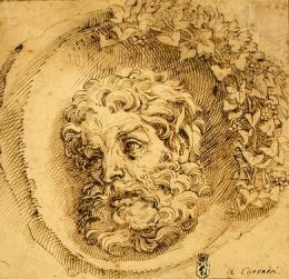 Agostino Carracci, Head of a Faun in a Concave,  1595