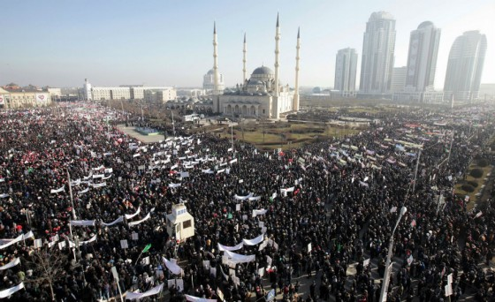 Hundreds of thousands rally in Grozny, Chechnya, in solidarity with Islam, not France