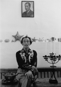 Salvador Dali with a painting of Jose Antonio Primo de Rivera