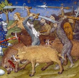 Wild Men and Wild Pigs, illustration from, Le Livre et le vraye hystoire du bon roy Alixandre, France 1420