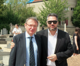 Emmanuel Ratier (on the left) with Paul-Éric Blanrue, who authored books and documentaries on Jewish power and revisionism.