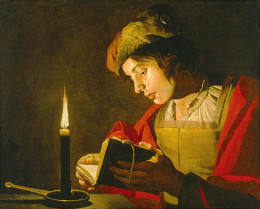 Matthias Stom, Young Man Reading by Candlelight, first half of 17th century