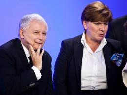 The winners: Jarosław Kaczyński and Beata Szydło