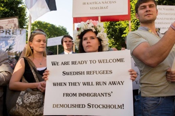 Pro-white solidarity shown by Latvians in an anti-immigration march in Riga.