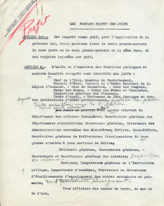 The draft Statute on Jews of October 3, 1940, apparently toughened by the hand of Marshal Pétain.