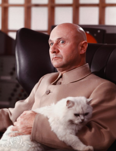 The cat in the hands of pervy Donald Pleasance in You Only Live Twice 1967