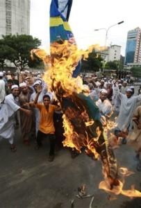 Muslim immigrants burn Swedish flag.