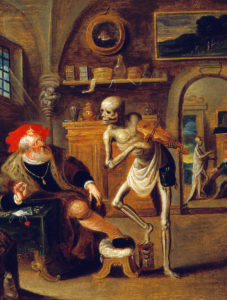 Frans Francken II, The Miser Haunted by Death Playing Violin