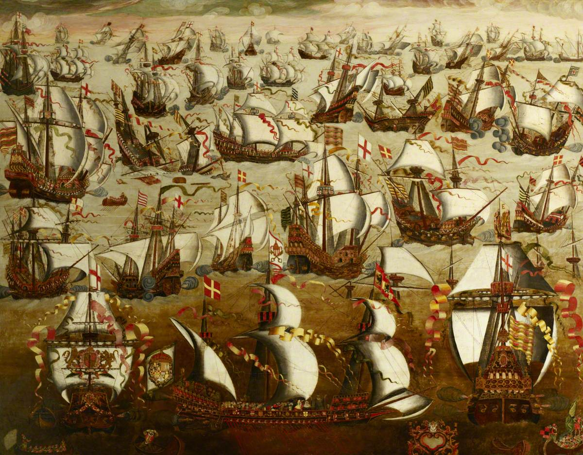 British (English) School; English Ships and the Spanish Armada, August 1588