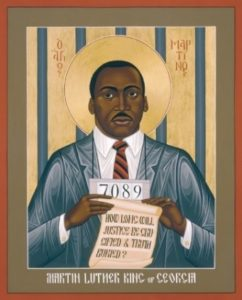Martin Luther King as a saint.